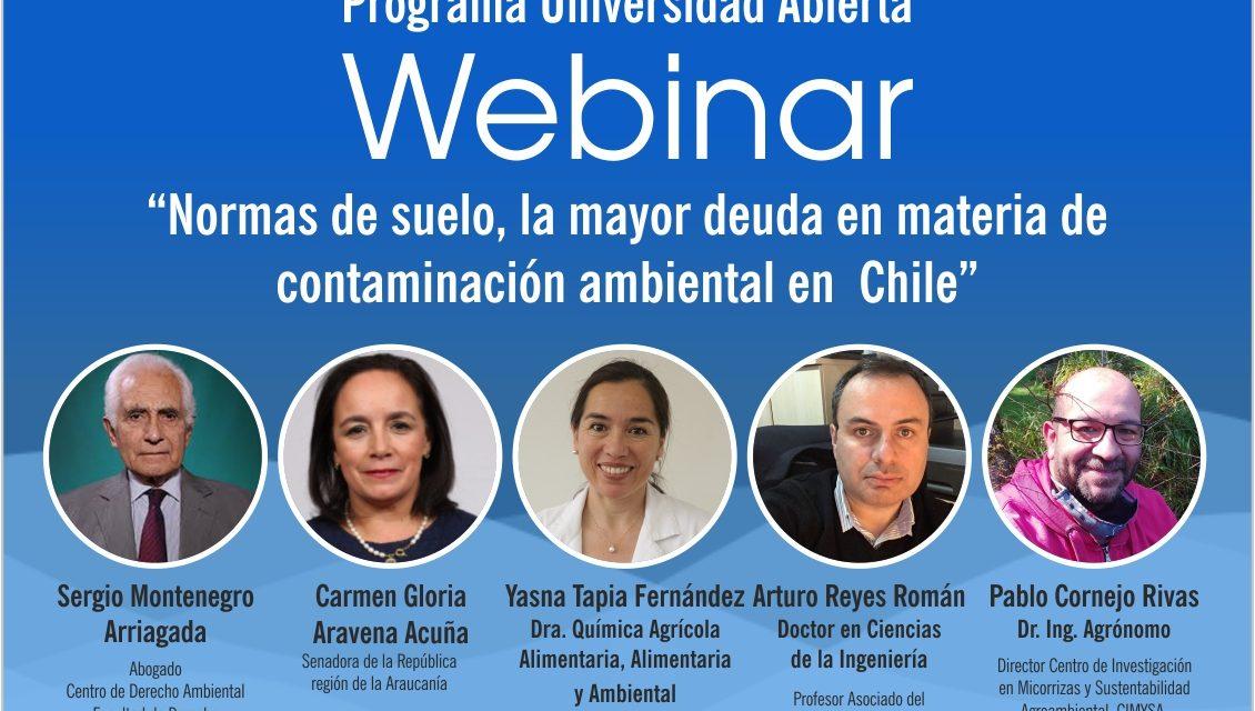 """Webinar """"Normas de suelo, la mayor deuda en materia de contaminación ambiental en Chile"""""""
