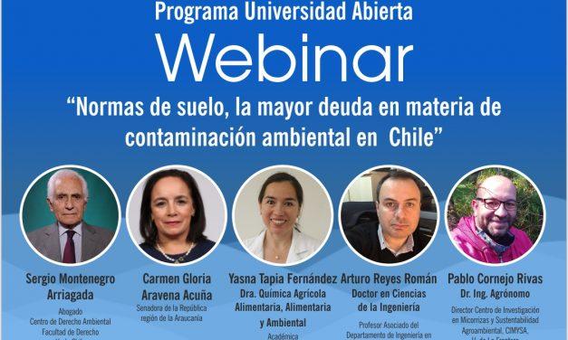"""Webinar """"Normas de suelo, la mayor deuda en materia de contaminación ambiental en Chile"""" 05 Nov, 09:00 horas"""