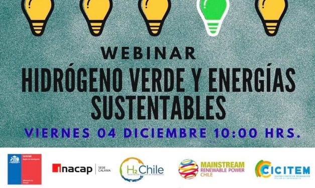 Webinar Hidrógeno Verde y Energías Sustentables, 04 de diciembre 10:00 horas