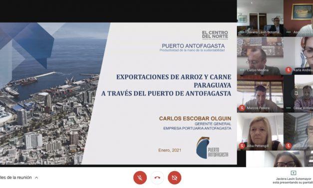 Puerto Antofagasta da a conocer oportunidades a empresarios de arroz y carne de Paraguay