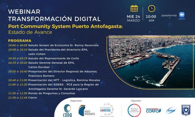 Webinar Transformación Digital, Port Community System, Puerto Antofagasta: Estado de Avance, 24 de Marzo 10:00 horas