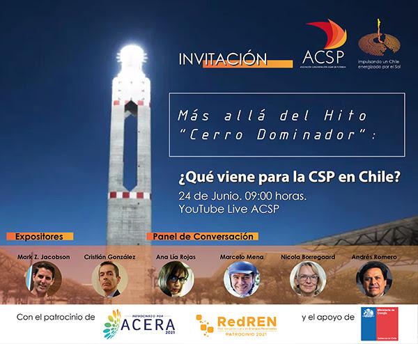 """Webinar Más allá del hito """"Cerro Dominador"""": ¿Qué viene para la CSP en Chile?, 24 de junio, 09:00 horas"""