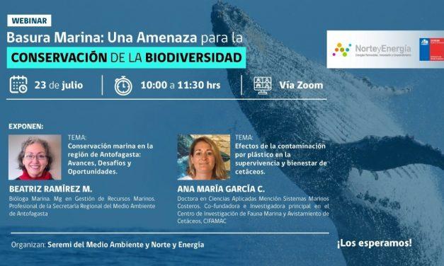 Webinar Basura Marina: Una amenaza para la conservación de la biodiversidad, 23 de julio, 10:00 horas